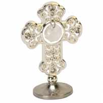 Silver Plated Cross Ornament With Crystals